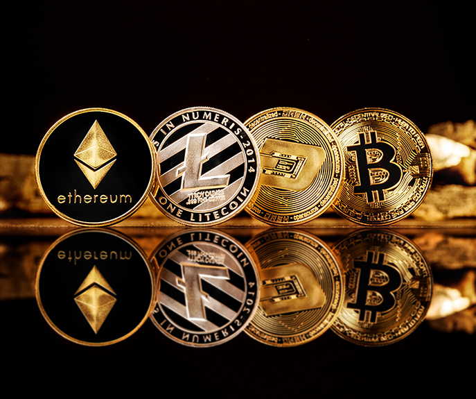 coins of crypto-currency on the background of gold nuggets. bitc